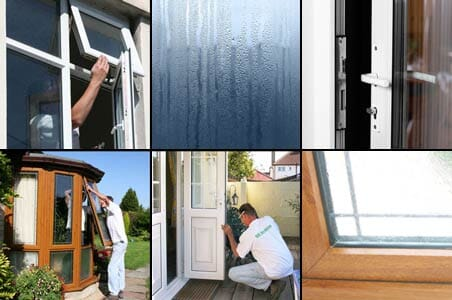 group of 6 photos showing various double glazing repair services